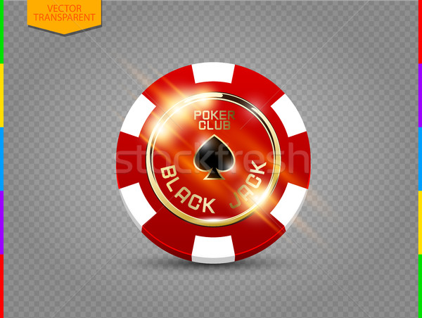 VIP poker red and white chip with light effect vector. Black jack poker club casino spades emblem Stock photo © Iaroslava