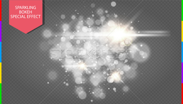 Abstract white bokeh effect explosion with sparks modern design. Glow star burst or firework light Stock photo © Iaroslava