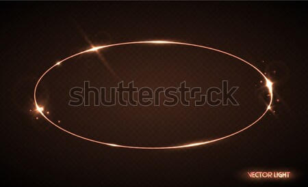 Vector oval frame with sparks and spotlight. Shining ellipse banner. Vector illustration isolated Stock photo © Iaroslava