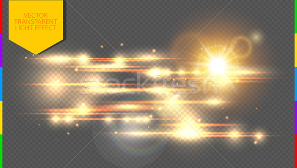 Vector golden special effect. Glowing streaks on transparent background. Beautiful glow light Stock photo © Iaroslava