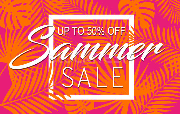 Summer sale banner with tropical exotic palm leaves and plant orange and pink bright vivid color Stock photo © Iaroslava