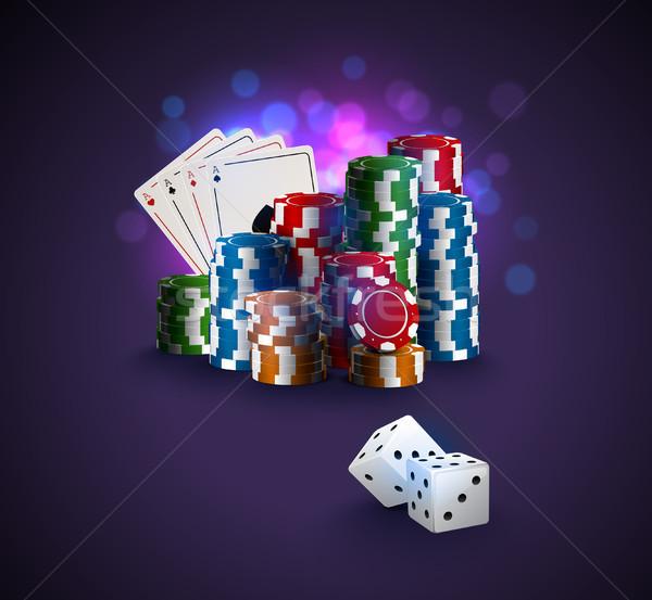 Poker vector illustration, stack of poker chips, ace cards on bokeh purple background Stock photo © Iaroslava