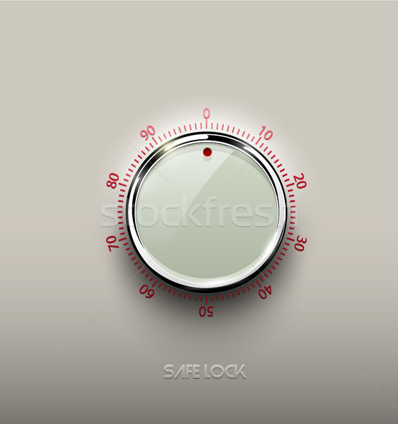 Stock photo: Realistic glass white combination safe lock volume element with chrome metal ring