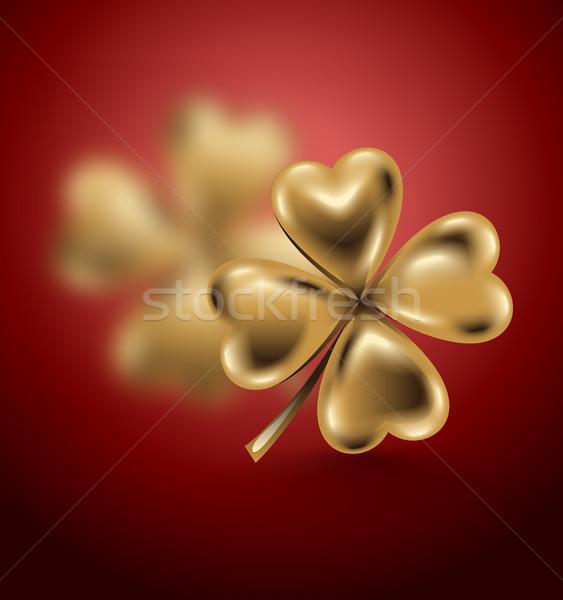 Altın yonca yaprak gün kırmızı takı Stok fotoğraf © Iaroslava