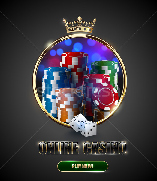 Round casino roulette golden frame window with crown, stack of poker chips and white dice on bright  Stock photo © Iaroslava
