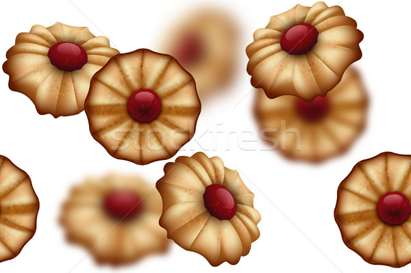 Buttery cookies with red jam seamless background isolated on white. Defocused cookies elements Stock photo © Iaroslava