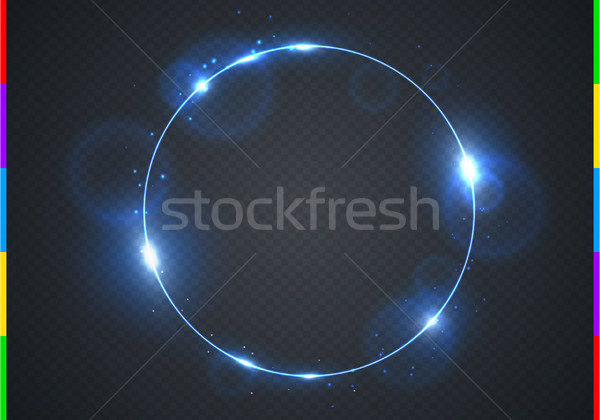 Vector electric blue frame with light effect flare and sparks. Shining round Christmas cold banner.  Stock photo © Iaroslava