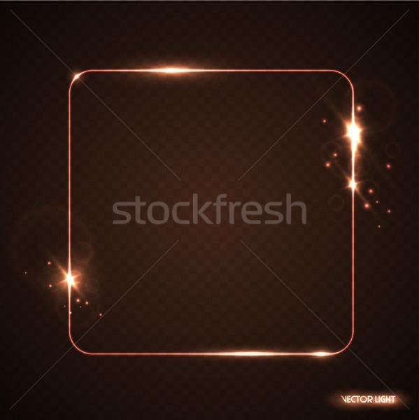 Vektor arany izzik vonal keret szikrák Stock fotó © Iaroslava