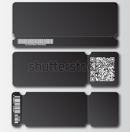 White ticket template with tear-off element, barcode and QR code isolated on transparent background. Stock photo © Iaroslava