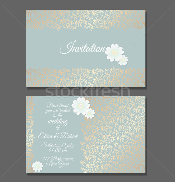 Vintage wedding invitation templates. Cover design with golden leaves ornament and daisy flower Stock photo © Iaroslava