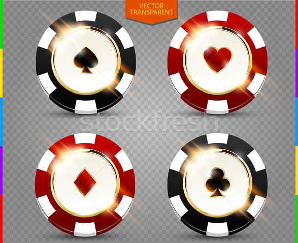 VIP poker black and red chip vector collection. Casino spades, hearts, phillips, diamonds suit set Stock photo © Iaroslava