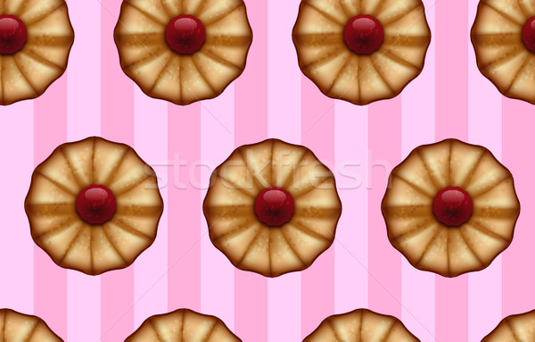 Buttery cookies with red jam on striped sweet pink color seamless background Stock photo © Iaroslava