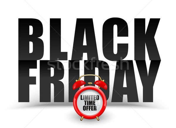 Stock photo: Black friday black text on white background. Vector red alarm clock with limited time offer. Banner