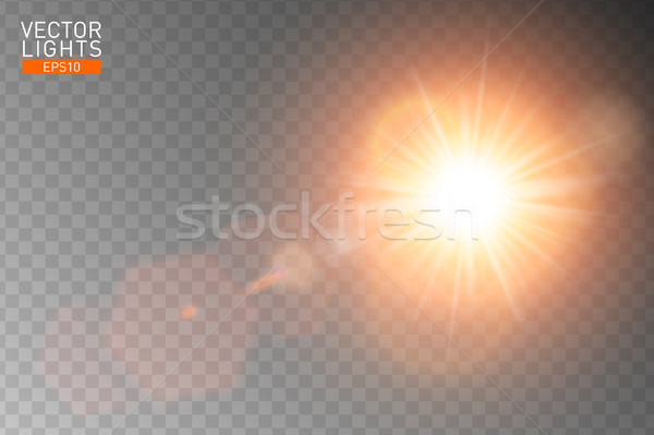 Vector transparent sunlight special lens flare. Abstract sun flash rays and spotlight Stock photo © Iaroslava
