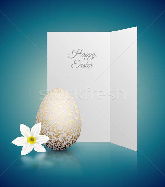 Branco cor realista ovo dourado metálico Foto stock © Iaroslava