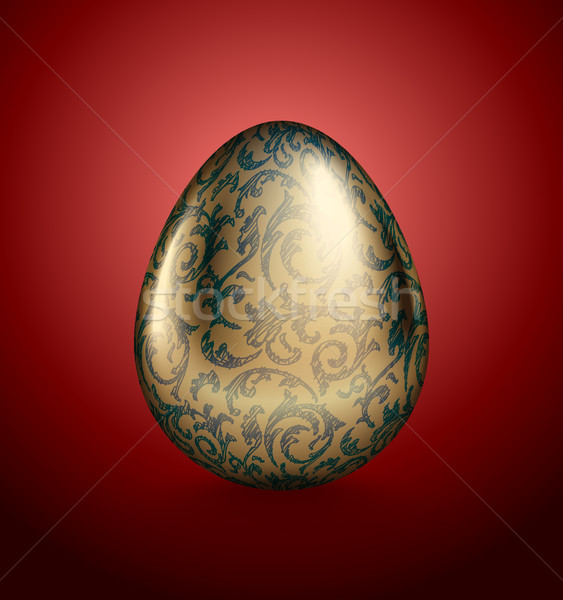 Glossy realistic golden egg with blue ink handdrawn floral pattern. Isolated on red background Stock photo © Iaroslava