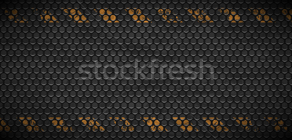 Vector pattern of metal rusty grid urban grunge background. Old black iron grill industrial texture. Stock photo © Iaroslava