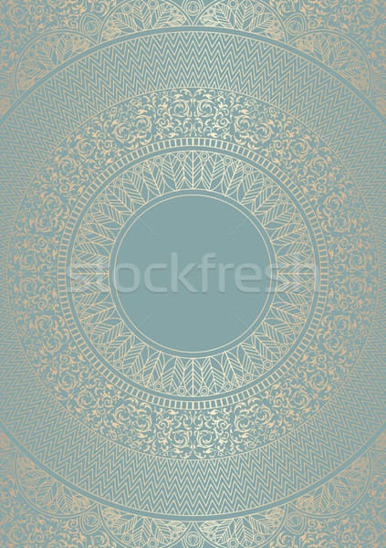 Golden round floral pattern green blue color. Vintage cover design template. Vector mandala poster Stock photo © Iaroslava