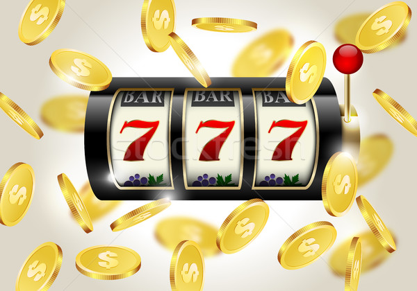 Slot machine with lucky seven and falling golden coins background. Winner casino. Stock photo © Iaroslava