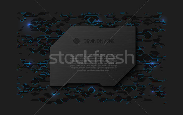 Abstract black futuristic soft welcome screen. Metal technology plate on chaotic scheme background Stock photo © Iaroslava