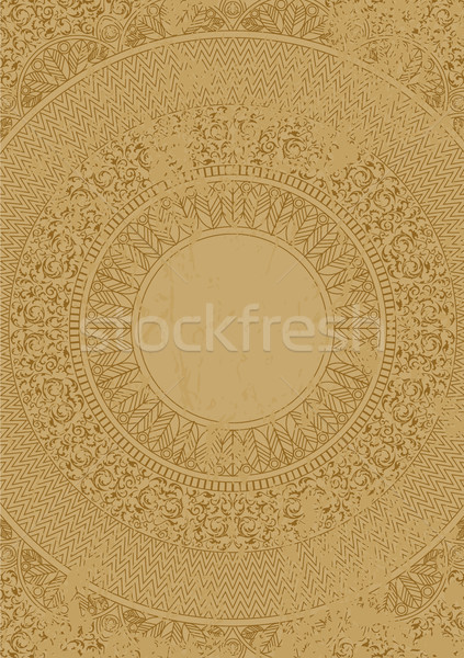 Vector distressed antique mexican pattern on marble slab. Scratched ethnic Aztec ornament. Ancient Stock photo © Iaroslava