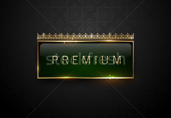 Premium green label with golden frame sparks and crown on black geometric pattern background Stock photo © Iaroslava