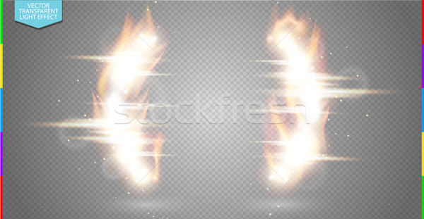 Abstract burning frame light flare semicircle and spark light effect on transparent background Stock photo © Iaroslava