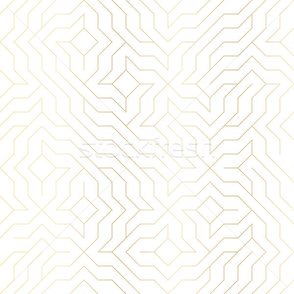 Seamless vector geometric golden line pattern. Abstract background with gold texture on white. Simpl Stock photo © Iaroslava