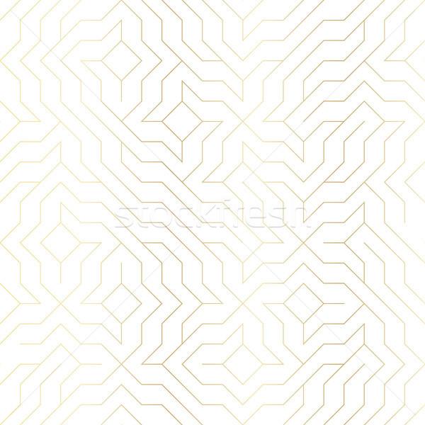 Foto stock: Sin · costura · vector · geométrico · dorado · línea · patrón