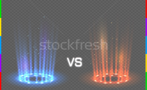 Versus round blue and red glow rays night scene with sparks on transparent background. Light effect  Stock photo © Iaroslava