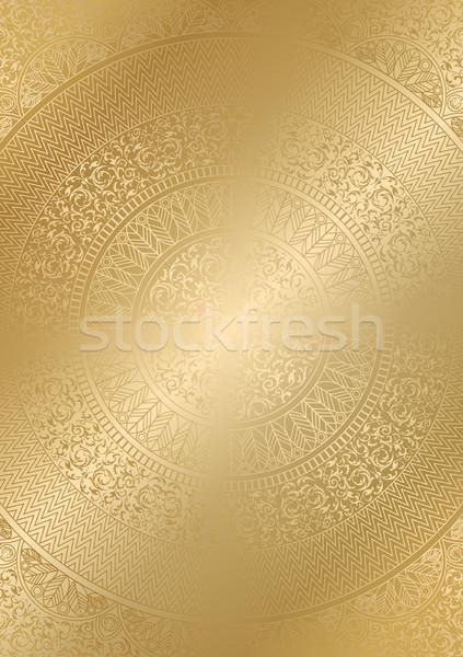 Golden round floral pattern gradient color. Vintage cover design template. Vector mandala poster Stock photo © Iaroslava