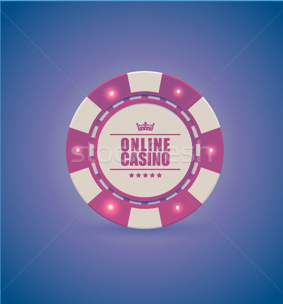 Vector red white casino poker chip with luminous light elements. Purple retro effect background Stock photo © Iaroslava