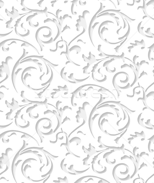Vector baroque damask white elegant lace texture. Luxury floral pattern element for wrapping paper Stock photo © Iaroslava