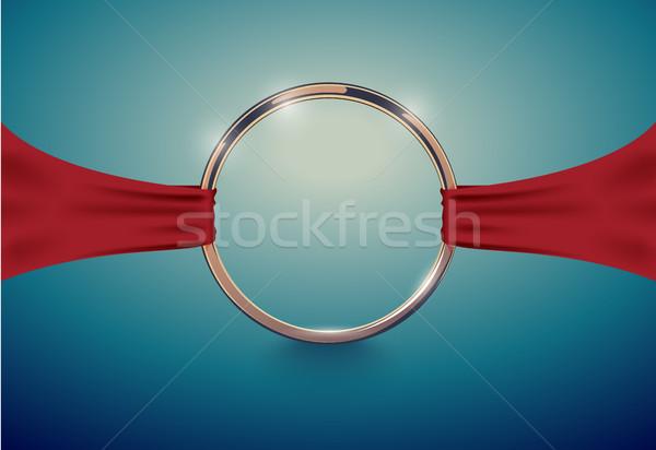 Abstract luxe gouden ring Rood doek Stockfoto © Iaroslava