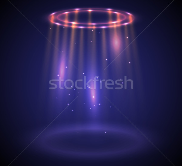 Round glow rays night scene with sparks. Empty light effect podium. Disco club dance floor Stock photo © Iaroslava
