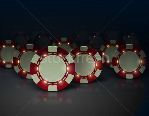 Vector casino poker chips with luminous lights elements. Dark background, glossy surface Stock photo © Iaroslava