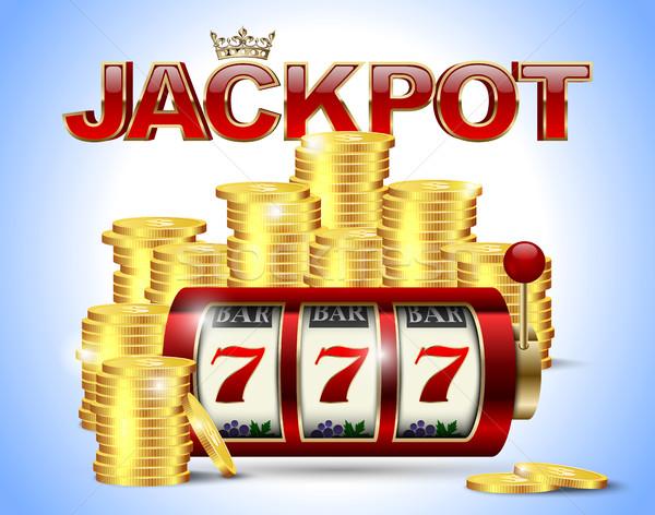 Játékautomata szerencsés hét arany érmék piros Stock fotó © Iaroslava