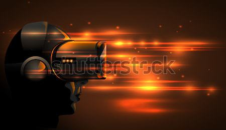 Realistic 3d Virtual Reality Headset Box. Futuristic Innovation digital cyberspace Technology poster Stock photo © Iaroslava