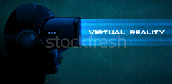 Vector young woman wearing virtual reality headset 3d glasses with blue ray. Game anime movie style  Stock photo © Iaroslava