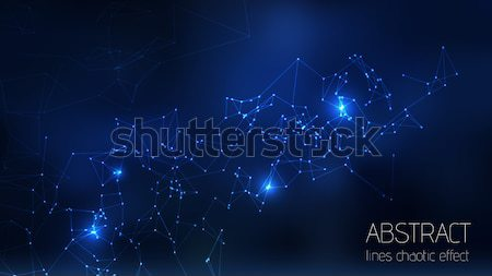 Abstract vector illuminated particles, sparks and lines. Plexus effect. Futuristic cyber Stock photo © Iaroslava