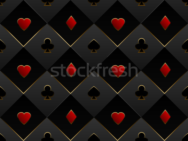 Black and red seamless pattern fabric poker table. Minimalistic casino vector 3d background Stock photo © Iaroslava