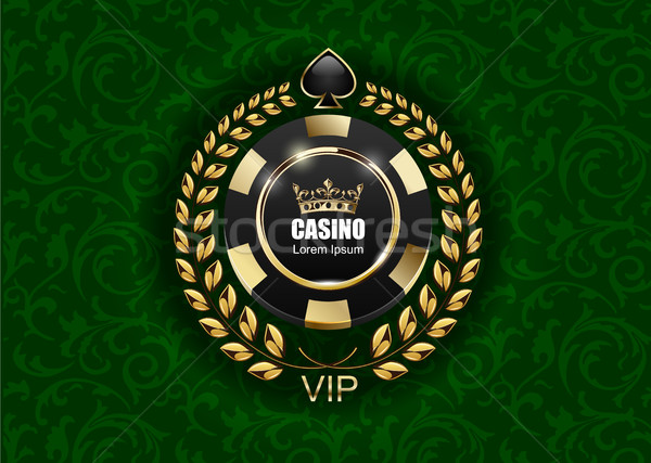 Vip póquer lujo negro dorado chip Foto stock © Iaroslava