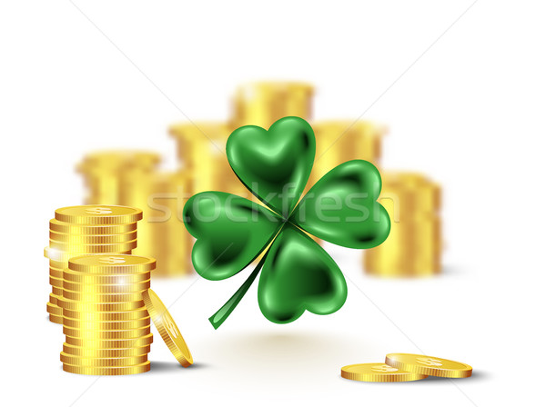 Green clover leaf, vector illustration for St. Patrick day. Blured stack of coins and four-leaf Stock photo © Iaroslava