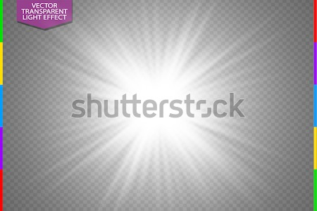 White glowing light burst explosion on transparent background. Vector illustration light effect deco Stock photo © Iaroslava