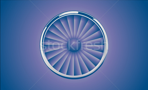 Jet Engine Turbine with chrome ring in retro violet blue color style. Detailed Airplane Motor Front  Stock photo © Iaroslava