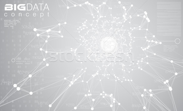 Big data light grey background vector illustration. White information streams center visualization.  Stock photo © Iaroslava