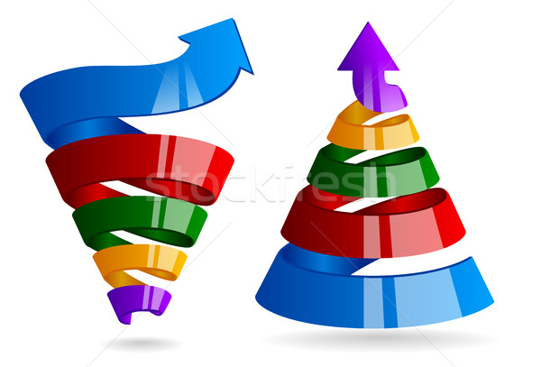Growth spiral with arrow. Sales funnel for marketing infographic. Glossy strip color ribbon cone Stock photo © Iaroslava