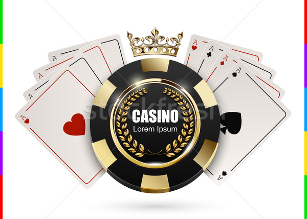 VIP poker luxury black and golden chip in golden crown with ace card vector casino logo concept Stock photo © Iaroslava