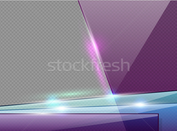 Transparent violet, blue and green glass plates with spotlight, shadow and hotspot flare web page Stock photo © Iaroslava