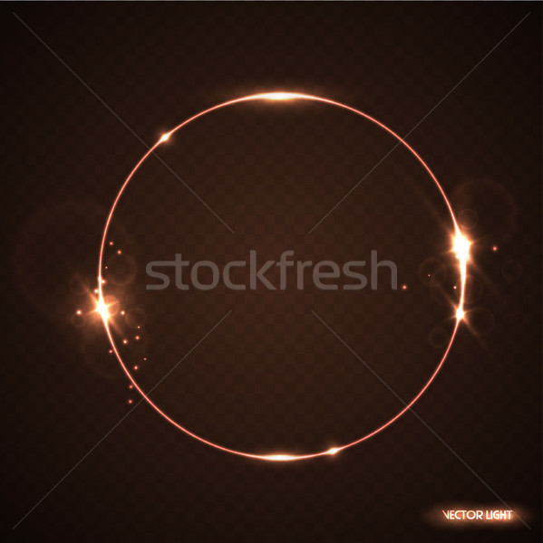 Vector round frame with sparks and spotlight. Shining circle banner. Vector illustration isolated Stock photo © Iaroslava